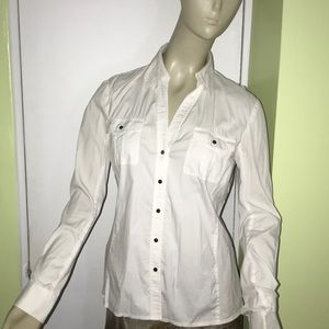 OneForty8 White cotton snap down stretch blouse 4